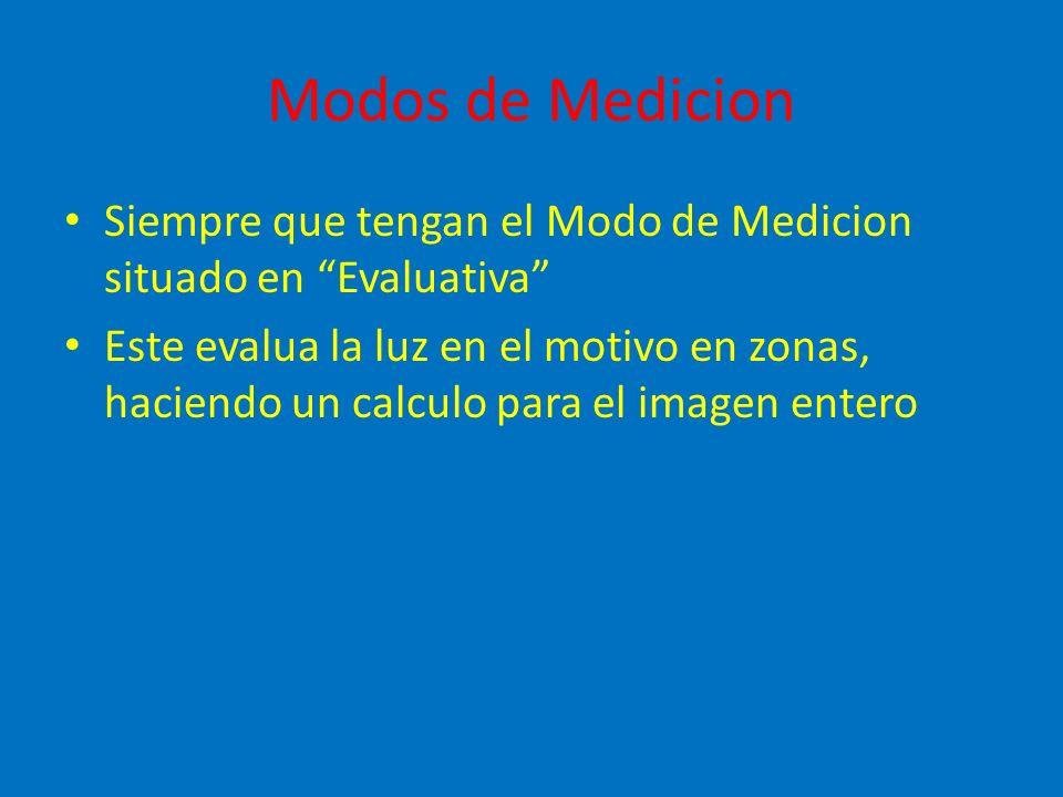 Modos de Medicion Siempre que tengan el Modo de Medicion situado en Evaluativa Este evalua la luz en el motivo en zonas, haciendo un calculo para el imagen entero
