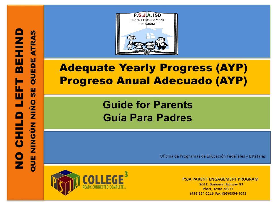 NO CHILD LEFT BEHIND QUE NINGÚN NIÑO SE QUEDE ATRAS Adequate Yearly Progress (AYP) Progreso Anual Adecuado (AYP) Guide for Parents Guía Para Padres PS