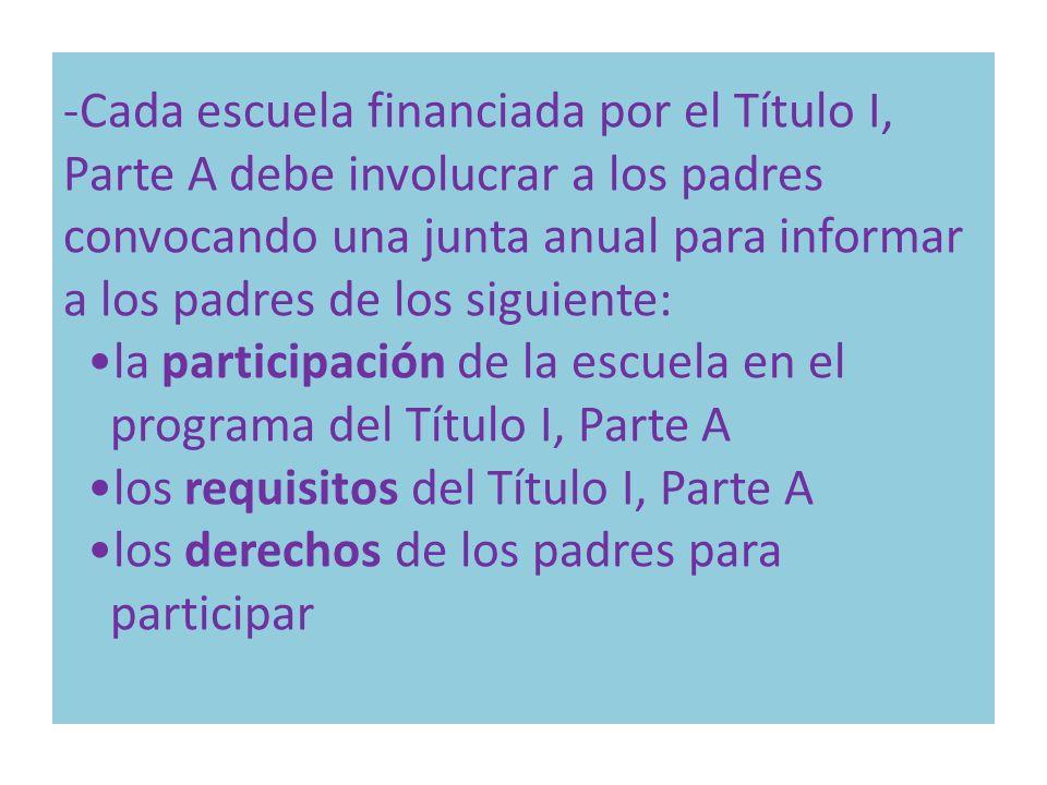-Cada escuela financiada por el Título I, Parte A debe involucrar a los padres convocando una junta anual para informar a los padres de los siguiente: