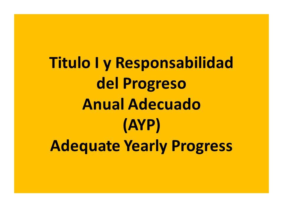 Titulo I y Responsabilidad del Progreso Anual Adecuado (AYP) Adequate Yearly Progress