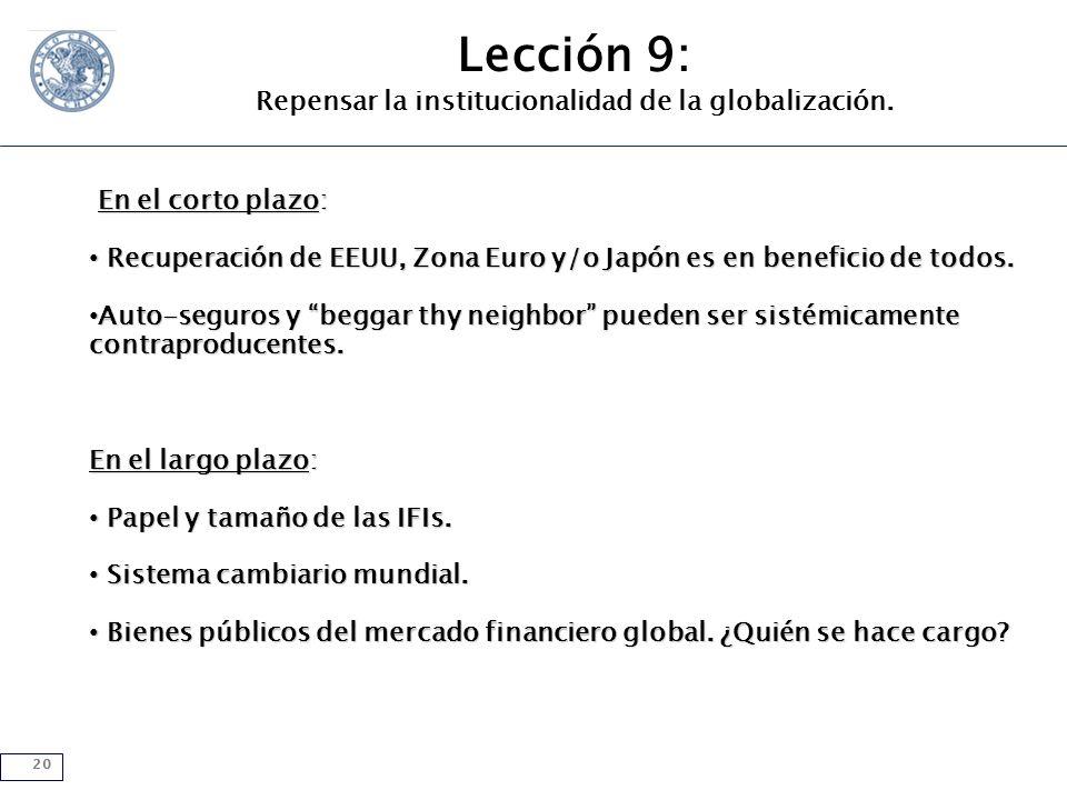 20 Lección 9: Repensar la institucionalidad de la globalización.