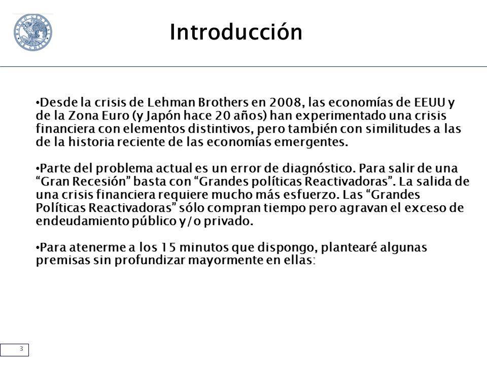 3 Introducción Desde la crisis de Lehman Brothers en 2008, las economías de EEUU y de la Zona Euro (y Japón hace 20 años) han experimentado una crisis financiera con elementos distintivos, pero también con similitudes a las de la historia reciente de las economías emergentes.