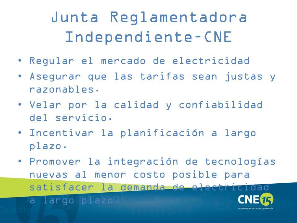 Junta Reglamentadora Independiente–CNE Regular el mercado de electricidad Asegurar que las tarifas sean justas y razonables. Velar por la calidad y co
