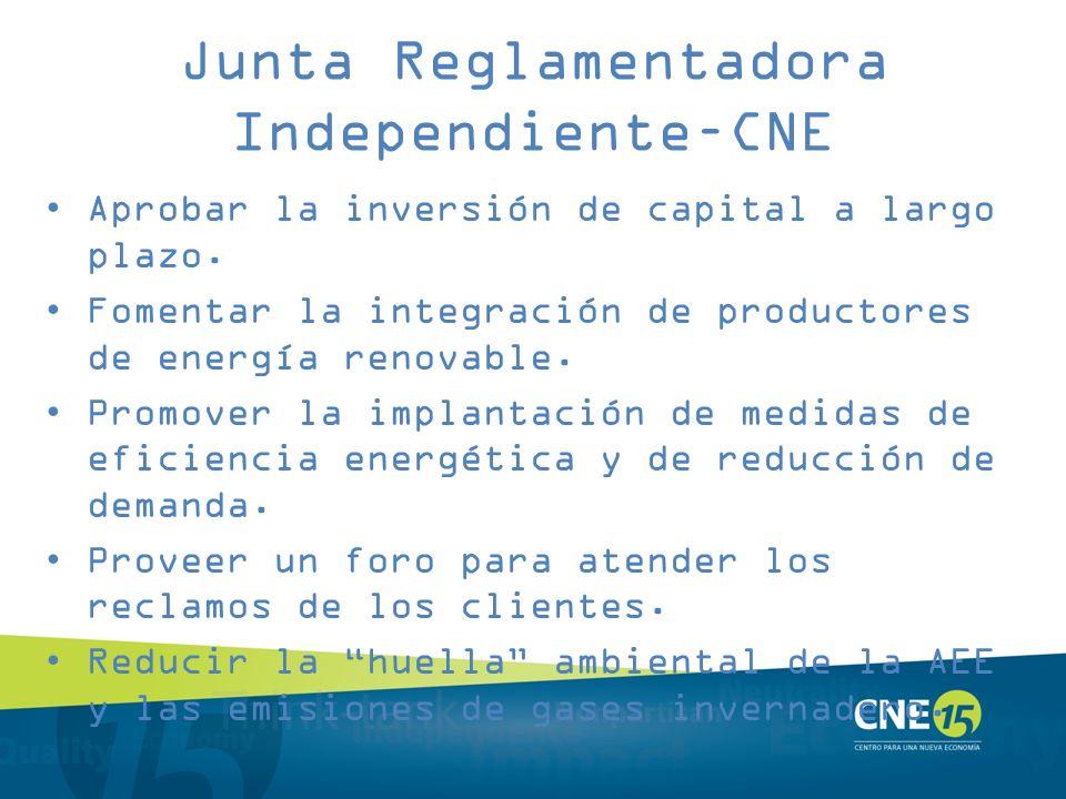 Junta Reglamentadora Independiente–CNE Aprobar la inversión de capital a largo plazo. Fomentar la integración de productores de energía renovable. Pro