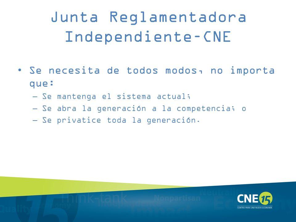 Junta Reglamentadora Independiente–CNE Se necesita de todos modos, no importa que: –Se mantenga el sistema actual; –Se abra la generación a la compete