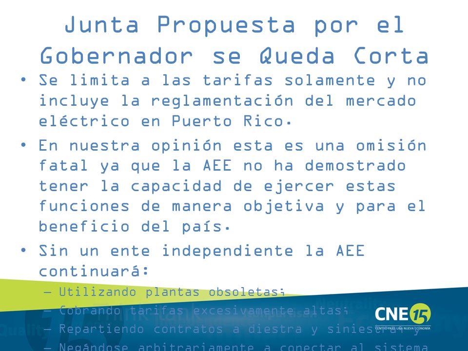 Junta Propuesta por el Gobernador se Queda Corta Se limita a las tarifas solamente y no incluye la reglamentación del mercado eléctrico en Puerto Rico