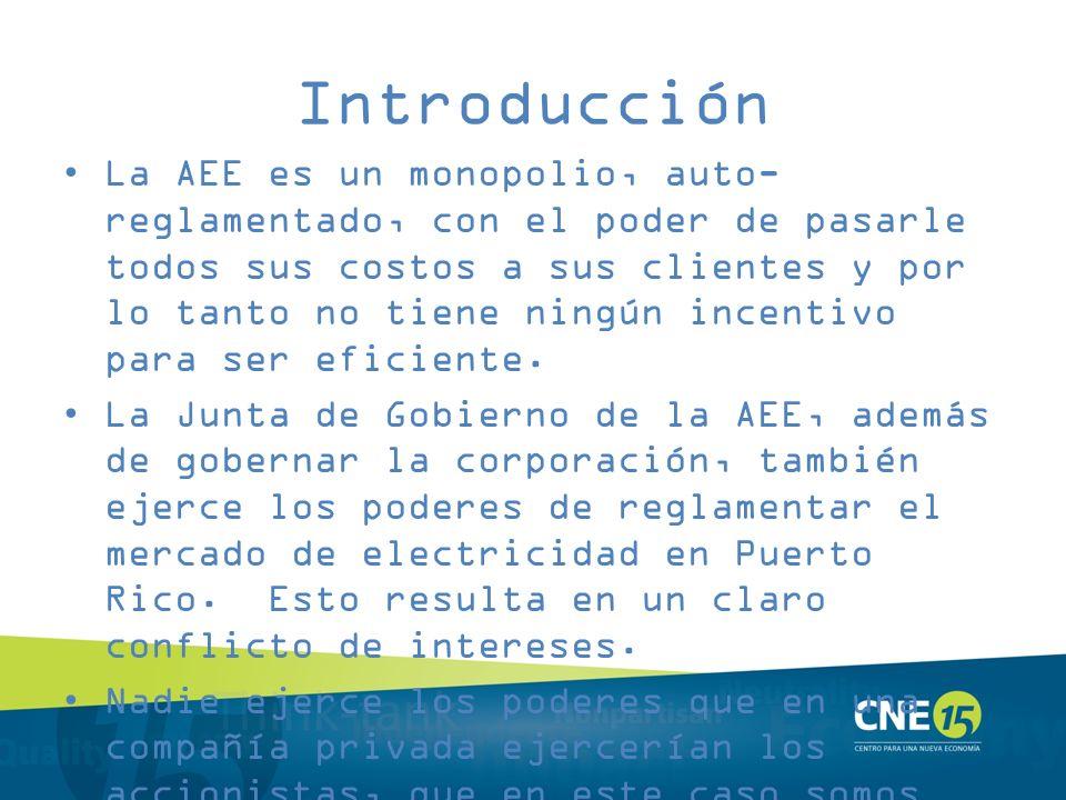 Introducción La AEE es un monopolio, auto- reglamentado, con el poder de pasarle todos sus costos a sus clientes y por lo tanto no tiene ningún incent