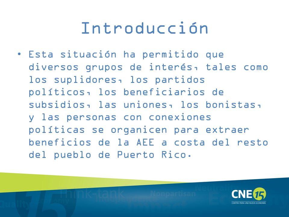 Introducción Esta situación ha permitido que diversos grupos de interés, tales como los suplidores, los partidos políticos, los beneficiarios de subsi