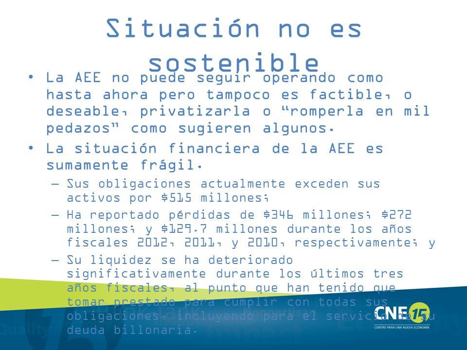 Situación no es sostenible La AEE no puede seguir operando como hasta ahora pero tampoco es factible, o deseable, privatizarla o romperla en mil pedaz