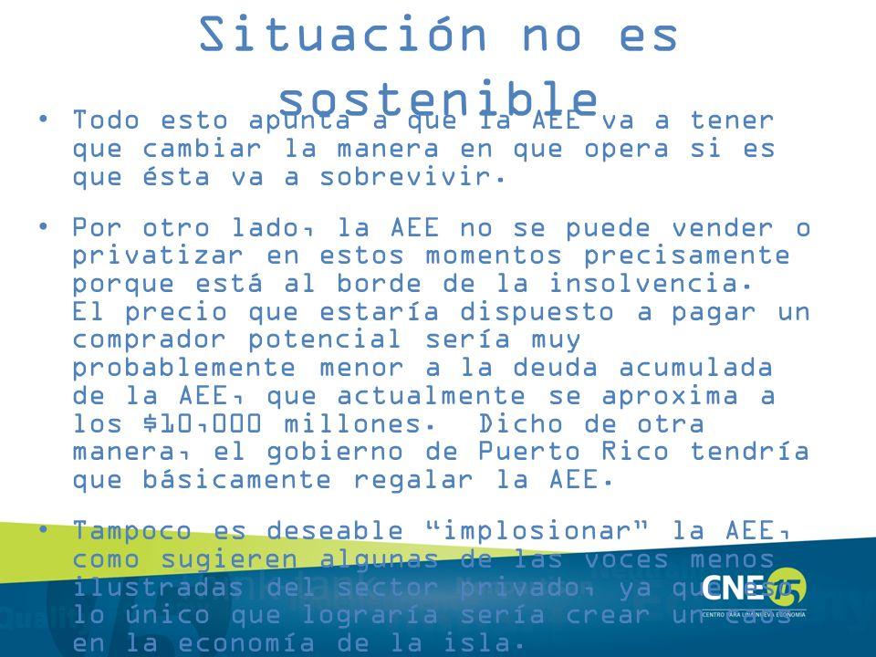 Situación no es sostenible Todo esto apunta a que la AEE va a tener que cambiar la manera en que opera si es que ésta va a sobrevivir. Por otro lado,
