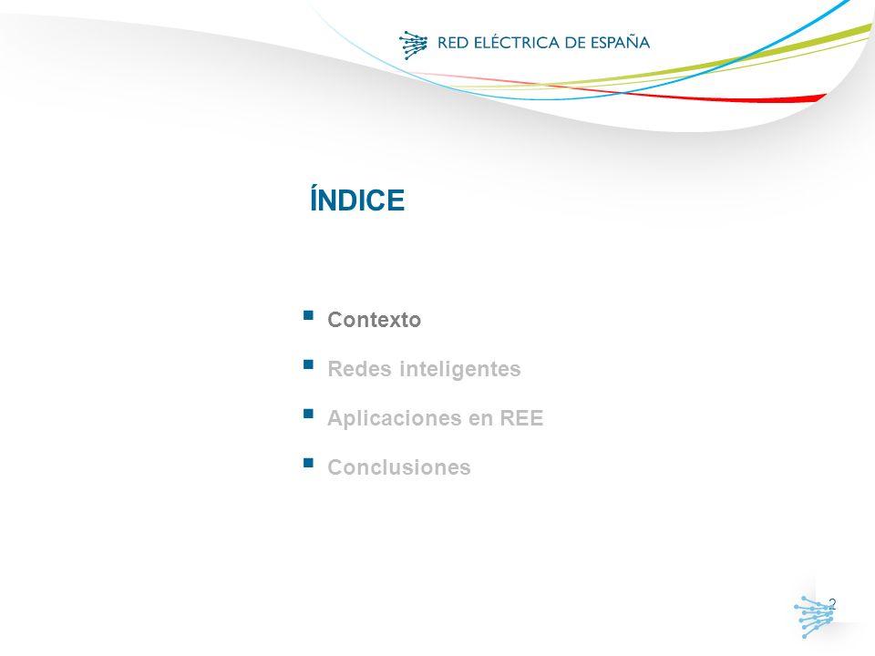 2 ÍNDICE Contexto Redes inteligentes Aplicaciones en REE Conclusiones