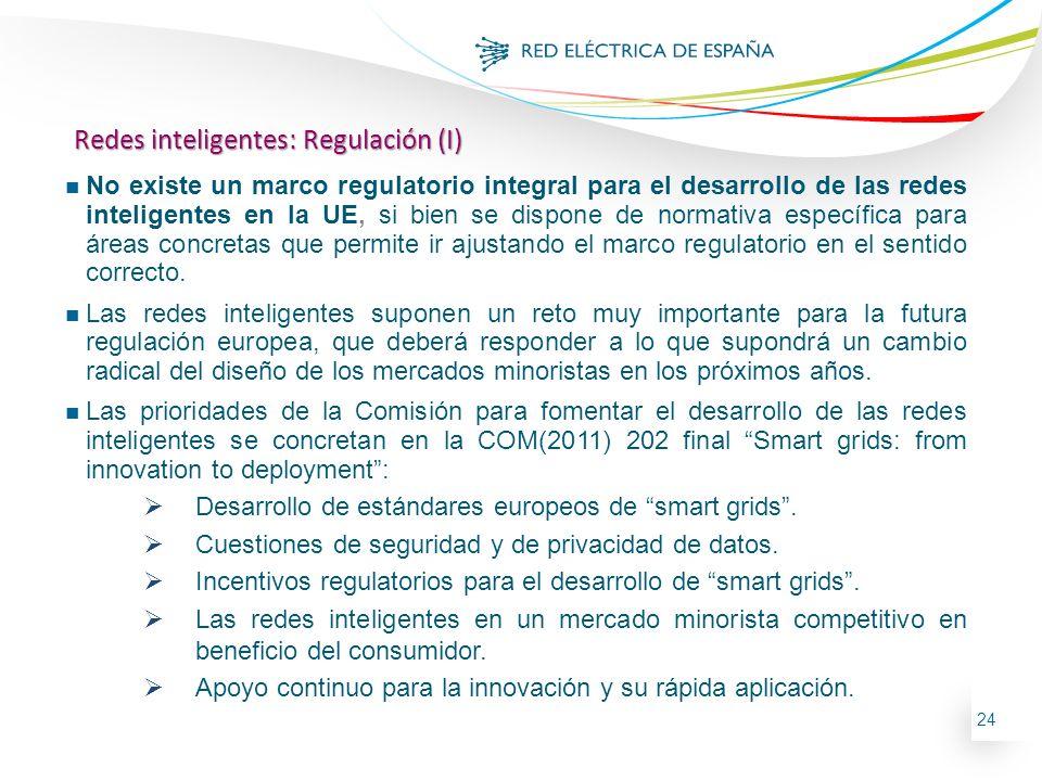 24 n No existe un marco regulatorio integral para el desarrollo de las redes inteligentes en la UE, si bien se dispone de normativa específica para ár