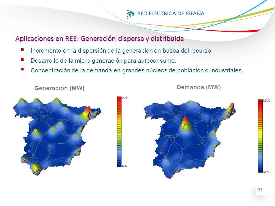 31 Incremento en la dispersión de la generación en busca del recurso. Desarrollo de la micro-generación para autoconsumo. Concentración de la demanda