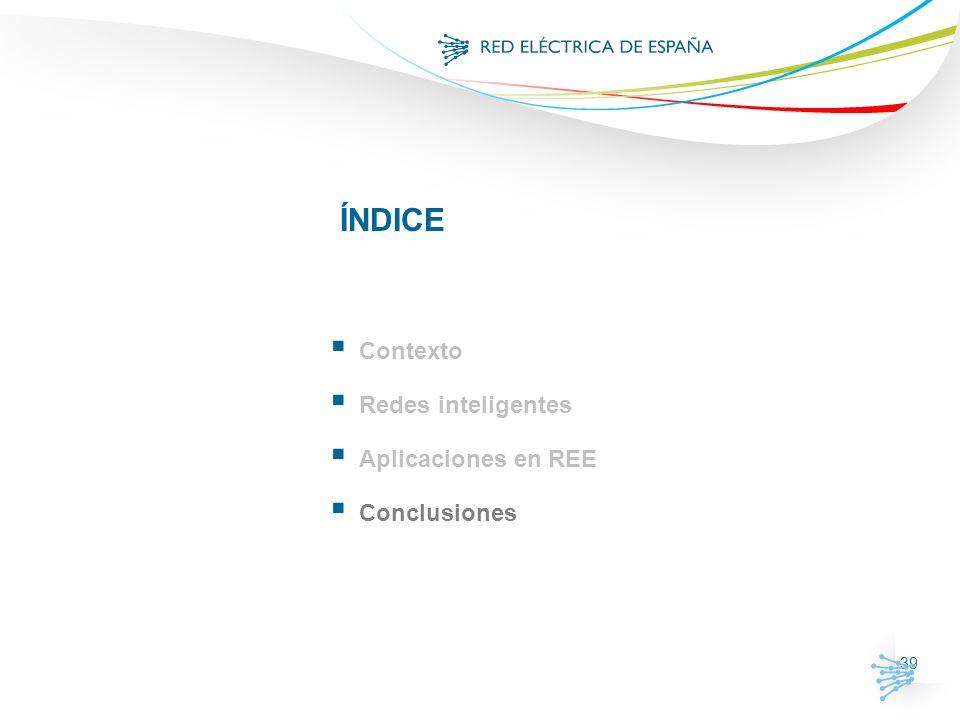 39 ÍNDICE Contexto Redes inteligentes Aplicaciones en REE Conclusiones