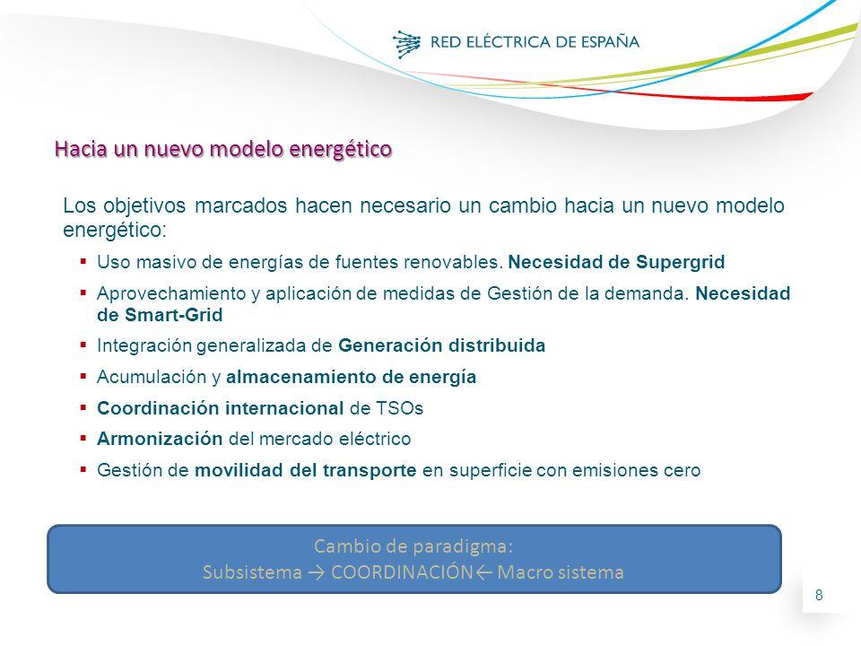 8 Hacia un nuevo modelo energético Los objetivos marcados hacen necesario un cambio hacia un nuevo modelo energético: Uso masivo de energías de fuente