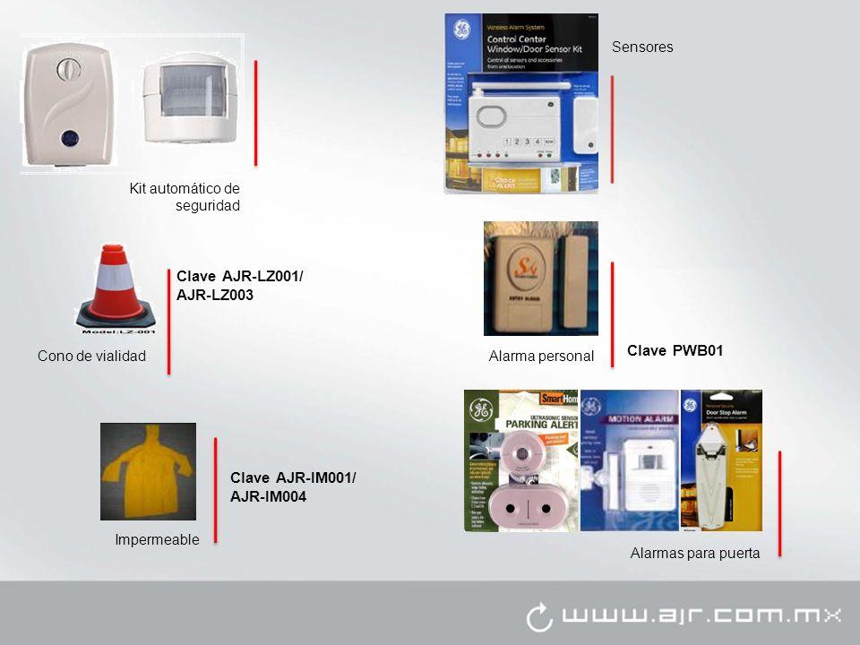 Alarmas para puerta Kit automático de seguridad Alarma personal Clave PWB01 Clave AJR-LZ001/ AJR-LZ003 Cono de vialidad Impermeable Clave AJR-IM001/ AJR-IM004 Sensores