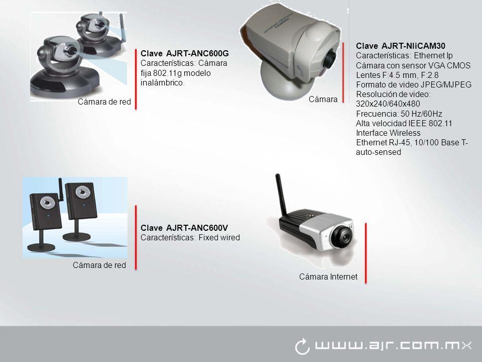 Cámara Clave AJRT-NIiCAM30 Características: Ethernet Ip Cámara con sensor VGA CMOS Lentes F:4.5 mm, F:2.8 Formato de video JPEG/MJPEG Resolución de vi
