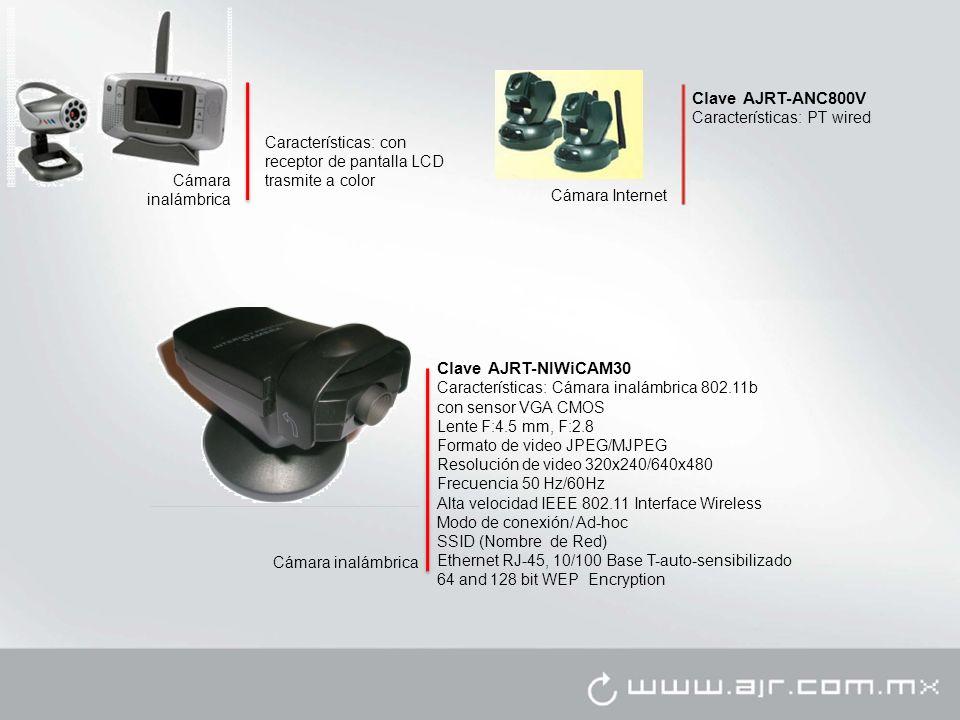 Cámara inalámbrica Características: con receptor de pantalla LCD trasmite a color Clave AJRT-NIWiCAM30 Características: Cámara inalámbrica 802.11b con sensor VGA CMOS Lente F:4.5 mm, F:2.8 Formato de video JPEG/MJPEG Resolución de video 320x240/640x480 Frecuencia 50 Hz/60Hz Alta velocidad IEEE 802.11 Interface Wireless Modo de conexión/ Ad-hoc SSID (Nombre de Red) Ethernet RJ-45, 10/100 Base T-auto-sensibilizado 64 and 128 bit WEP Encryption Cámara inalámbrica Clave AJRT-ANC800V Características: PT wired Cámara Internet