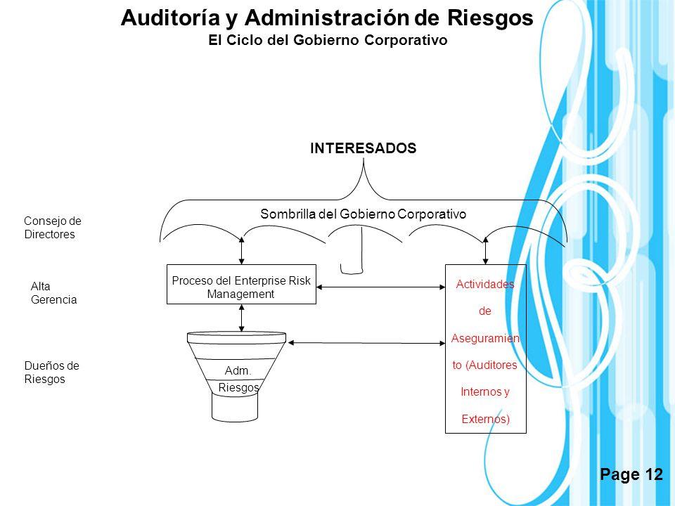 Page 12 Sombrilla del Gobierno Corporativo INTERESADOS Actividades de Aseguramien to (Auditores Internos y Externos) Proceso del Enterprise Risk Manag