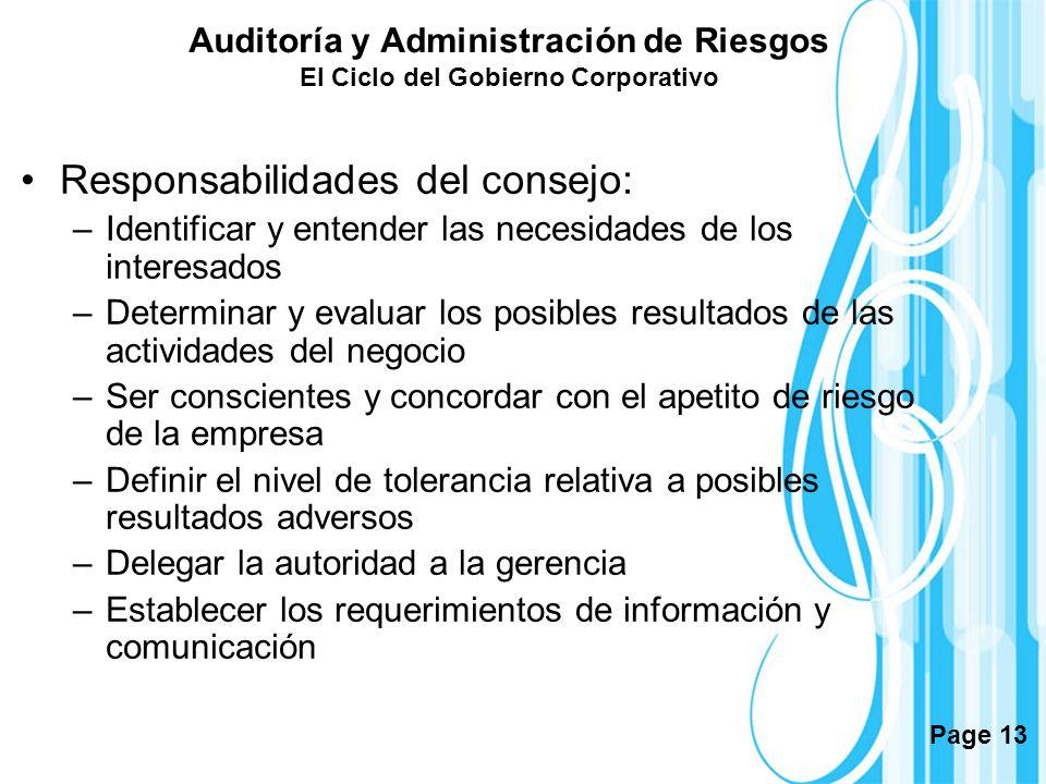 Page 13 Auditoría y Administración de Riesgos El Ciclo del Gobierno Corporativo Responsabilidades del consejo: –Identificar y entender las necesidades