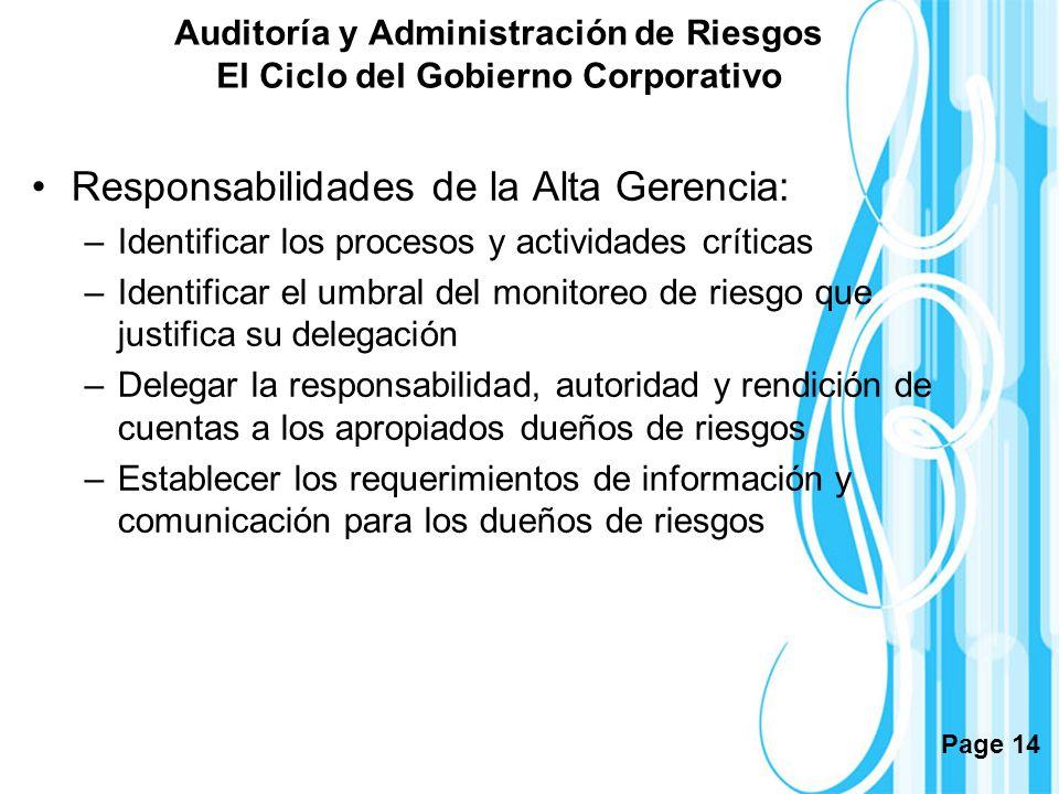 Page 14 Auditoría y Administración de Riesgos El Ciclo del Gobierno Corporativo Responsabilidades de la Alta Gerencia: –Identificar los procesos y act