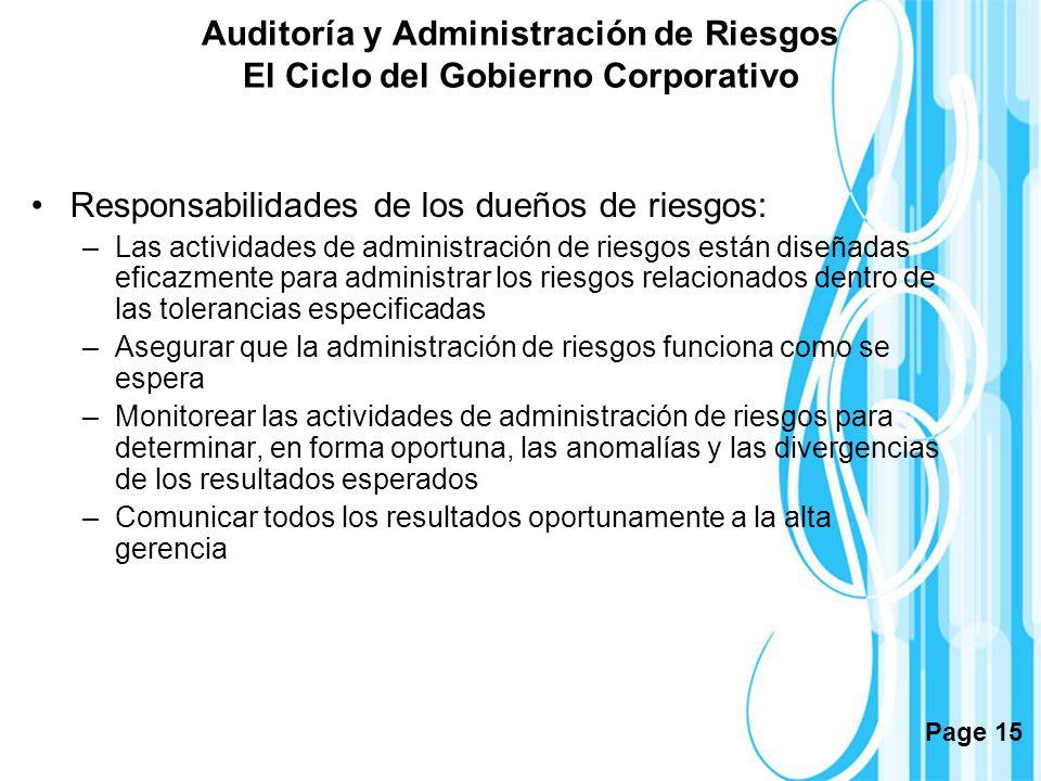 Page 15 Auditoría y Administración de Riesgos El Ciclo del Gobierno Corporativo Responsabilidades de los dueños de riesgos: –Las actividades de admini