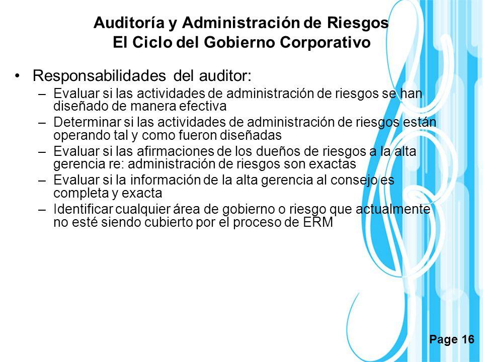 Page 16 Auditoría y Administración de Riesgos El Ciclo del Gobierno Corporativo Responsabilidades del auditor: –Evaluar si las actividades de administ