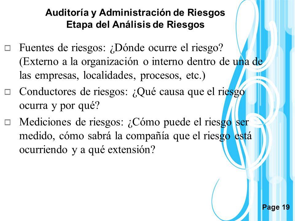 Page 19 Auditoría y Administración de Riesgos Etapa del Análisis de Riesgos Fuentes de riesgos: ¿Dónde ocurre el riesgo? (Externo a la organización o