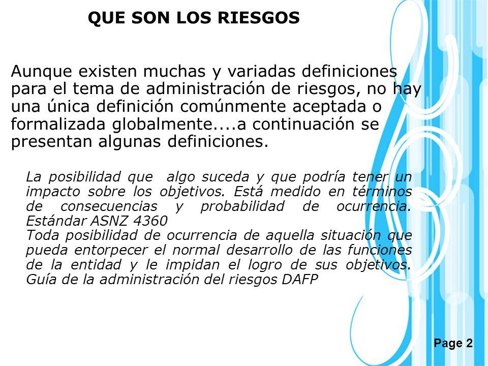 Page 2 QUE SON LOS RIESGOS Aunque existen muchas y variadas definiciones para el tema de administración de riesgos, no hay una única definición comúnm