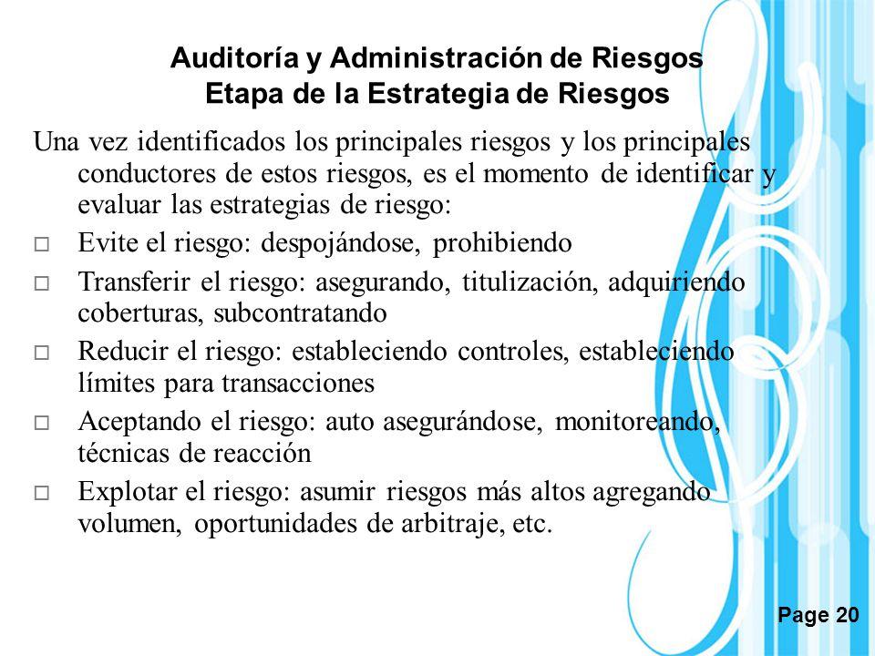 Page 20 Auditoría y Administración de Riesgos Etapa de la Estrategia de Riesgos Una vez identificados los principales riesgos y los principales conduc