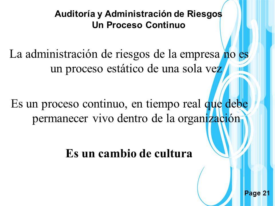 Page 21 Auditoría y Administración de Riesgos Un Proceso Continuo La administración de riesgos de la empresa no es un proceso estático de una sola vez