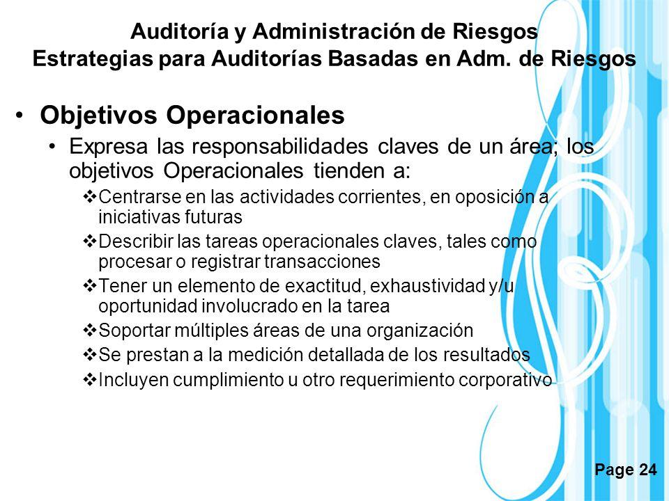 Page 24 Objetivos Operacionales Expresa las responsabilidades claves de un área; los objetivos Operacionales tienden a: Centrarse en las actividades c