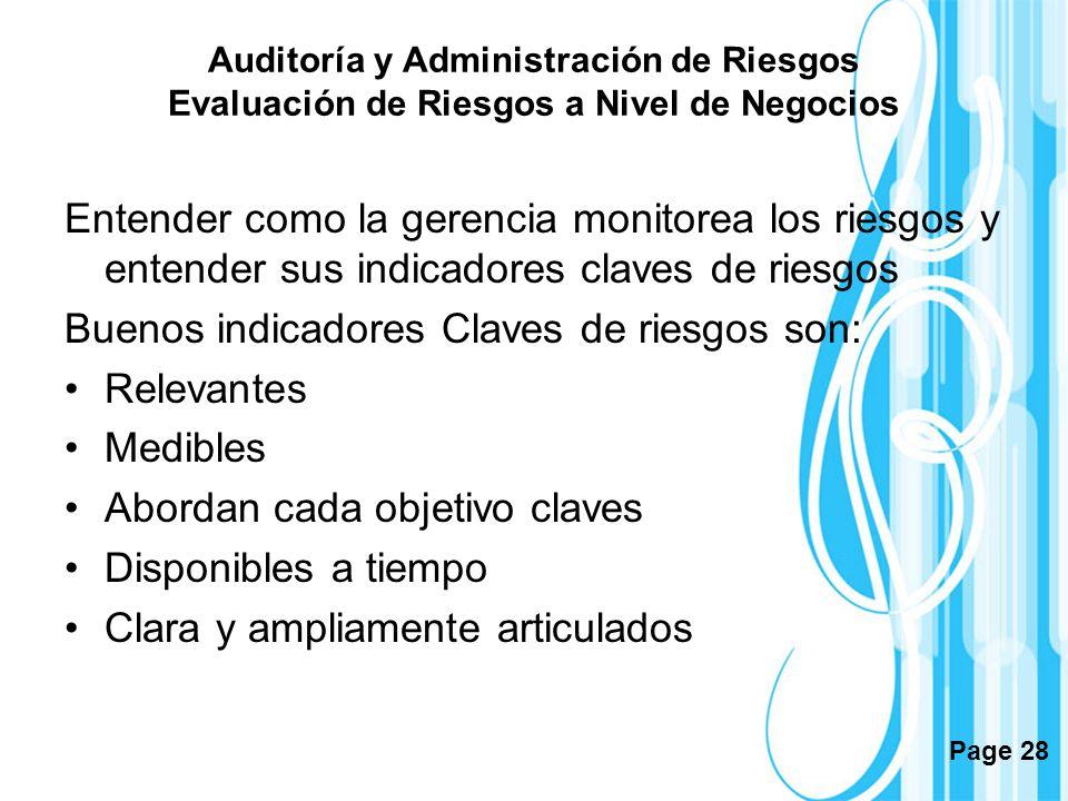 Page 28 Auditoría y Administración de Riesgos Evaluación de Riesgos a Nivel de Negocios Entender como la gerencia monitorea los riesgos y entender sus