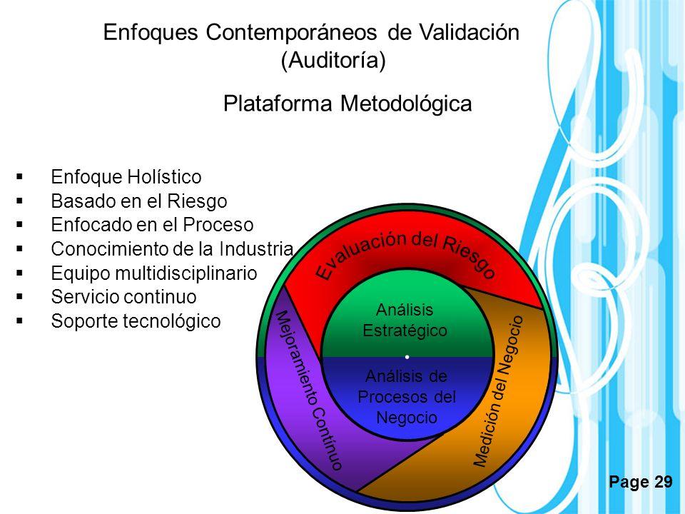 Page 29 Plataforma Metodológica Análisis Estratégico Análisis de Procesos del Negocio Enfoque Holístico Basado en el Riesgo Enfocado en el Proceso Con
