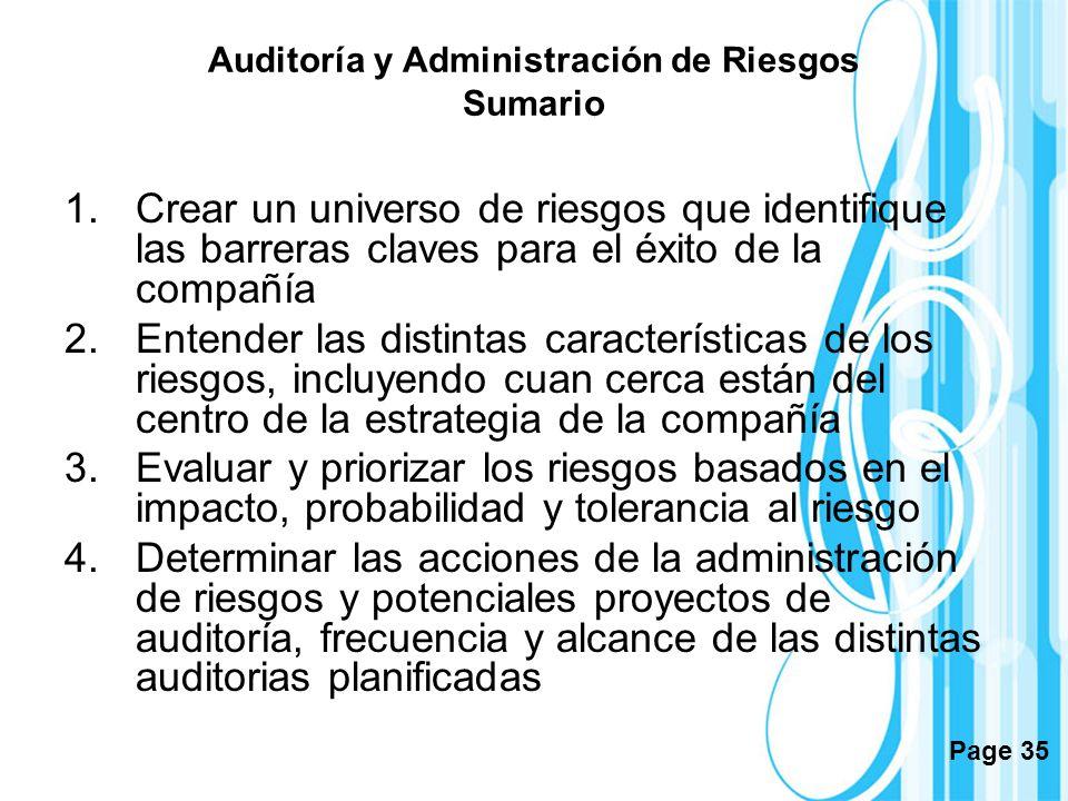Page 35 Auditoría y Administración de Riesgos Sumario 1.Crear un universo de riesgos que identifique las barreras claves para el éxito de la compañía