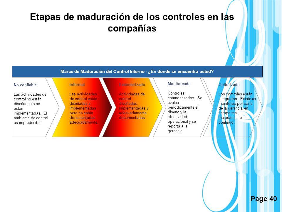 Page 40 Etapas de maduración de los controles en las compañías Marco de Maduración del Control Interno - ¿En donde se encuentra usted? No confiable La