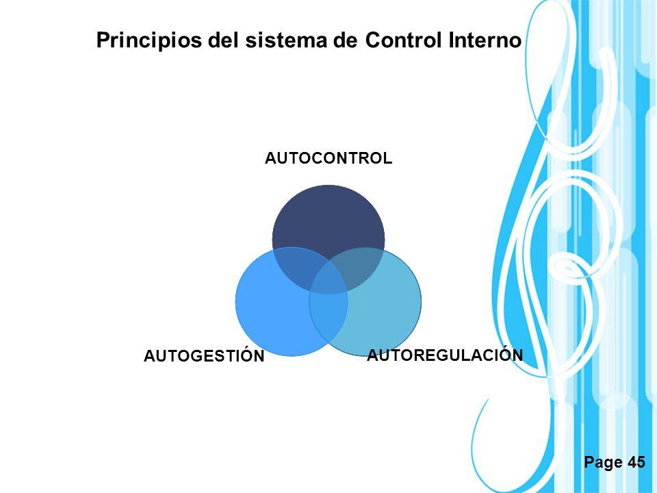 Page 45 Principios del sistema de Control Interno AUTOCONTROL AUTOGESTIÓN AUTOREGULACIÓN