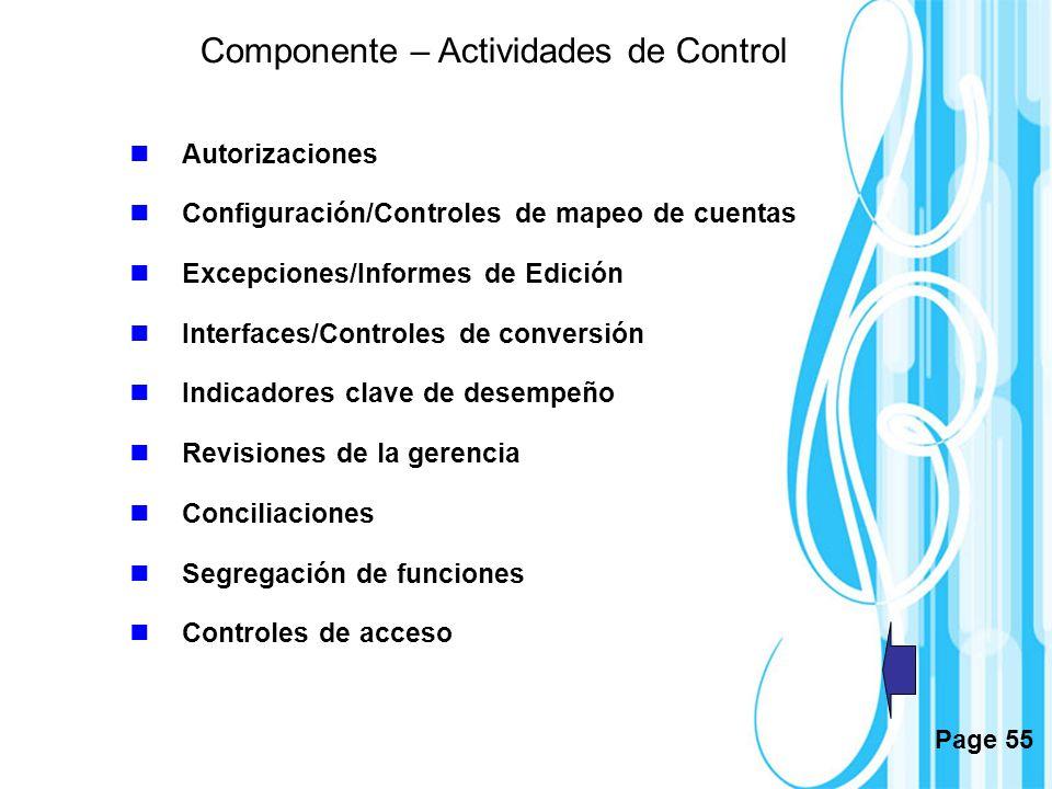 Page 55 Componente – Actividades de Control Autorizaciones Configuración/Controles de mapeo de cuentas Excepciones/Informes de Edición Interfaces/Cont