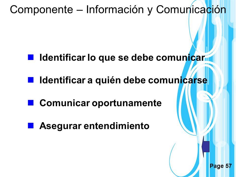 Page 57 Componente – Información y Comunicación Identificar lo que se debe comunicar Identificar a quién debe comunicarse Comunicar oportunamente Aseg