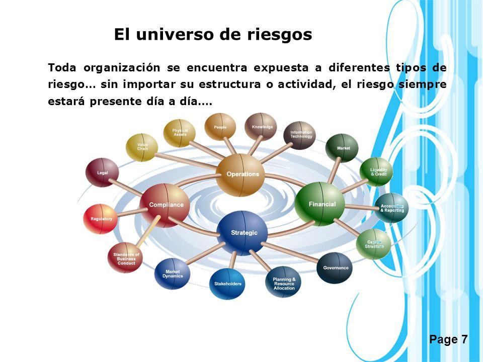 Page 7 El universo de riesgos Toda organización se encuentra expuesta a diferentes tipos de riesgo… sin importar su estructura o actividad, el riesgo