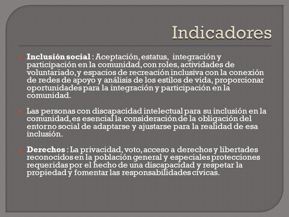 Inclusión social : Aceptación, estatus, integración y participación en la comunidad, con roles, actividades de voluntariado, y espacios de recreación