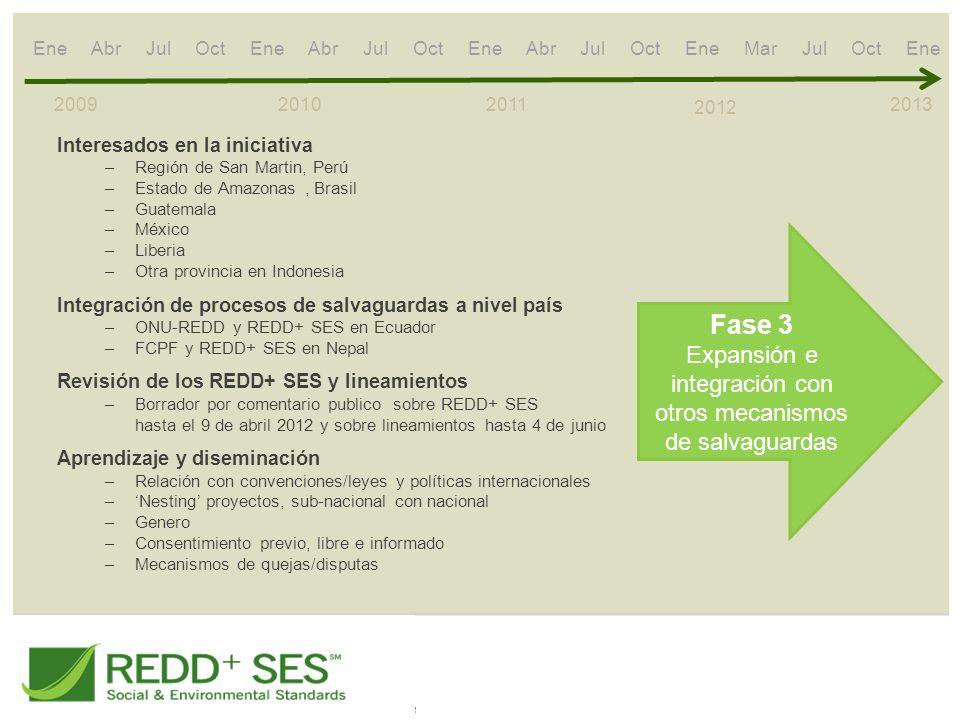 2009 2010 2011 2012 Fase 3 Expansión e integración con otros mecanismos de salvaguardas 2013 Interesados en la iniciativa –Región de San Martin, Perú