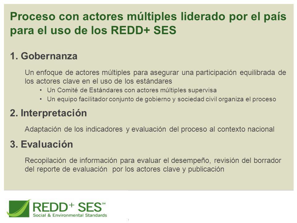 Proceso con actores múltiples liderado por el país para el uso de los REDD+ SES 1.