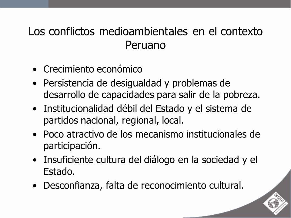 Los conflictos medioambientales en el contexto Peruano En los últimos 5 años ha habido un incremento de 300% en la conflictividad social en su mayoría vinculada a temas de medio ambiente.