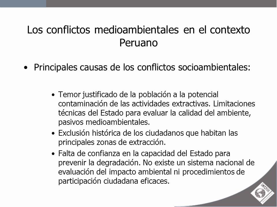Los conflictos medioambientales en el contexto Peruano Percepción de incompatibilidad de la minería con otras actividades: agricultura, ganadería y turismo.