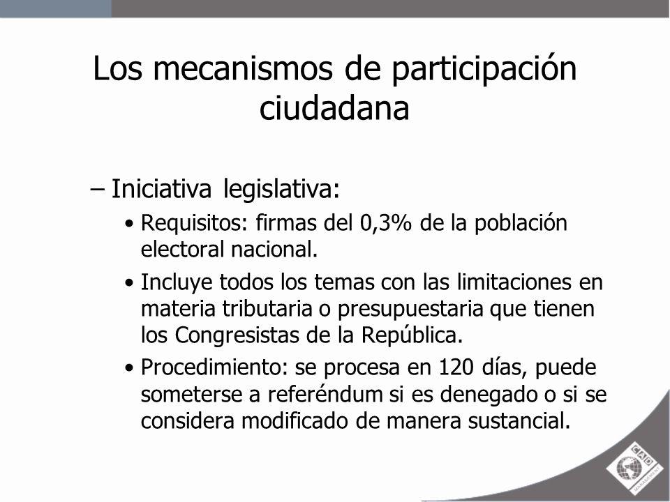 Los mecanismos de participación ciudadana –Referéndum: Solicitado por un número de ciudadanos no menor al 10% del electorado nacional.