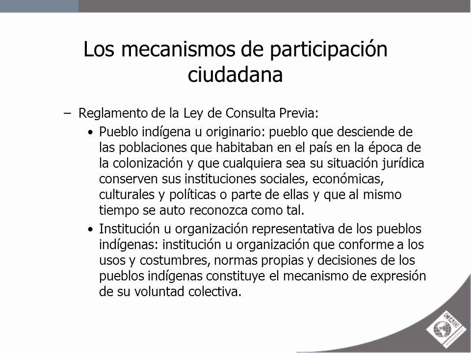 Los mecanismos de participación ciudadana –Reglamento de la Ley de Consulta Previa.