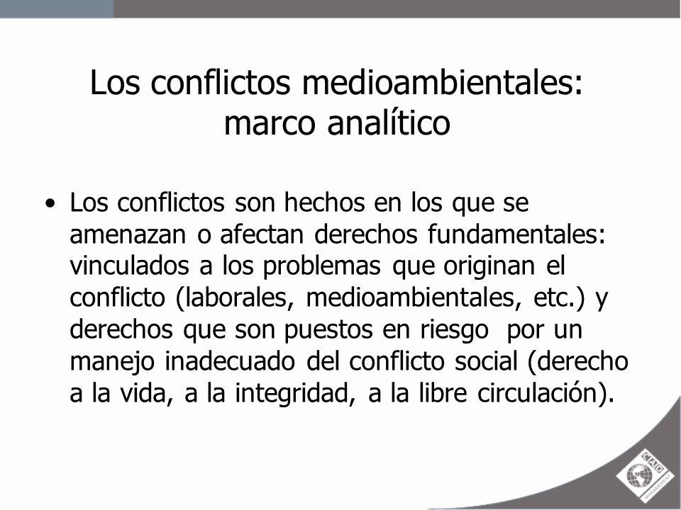 Los Conflictos medioambientales marco analítico Definición de conflicto social: Procesos complejos en los cuales sectores de la sociedad, el Estado y las empresas perciben que sus objetivos, valores, intereses o necesidades son contradictorios.