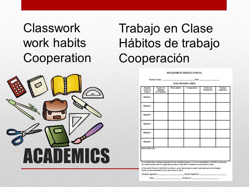 ACADEMICS Classwork work habits Cooperation Trabajo en Clase Hábitos de trabajo Cooperación