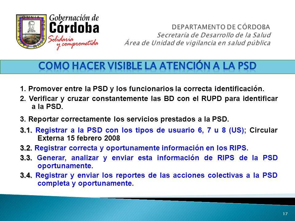 1. Promover entre la PSD y los funcionarios la correcta identificación. 2. Verificar y cruzar constantemente las BD con el RUPD para identificar a la